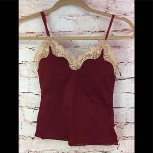 HOLLISTER Tank Top Lace trim burgundy 🍷small
